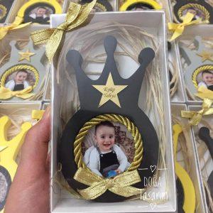 Kral Tacı Fotoğraf Çerçevesi Siyah Kokulu Taş