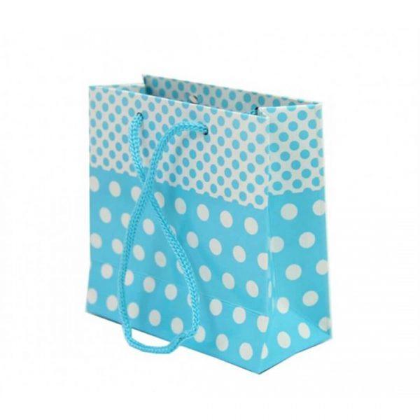 Mavi Puantiyeli ve Tutma İpli (11x11) Hediyelik Karton Çanta