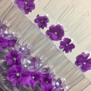 Mor Çiçek ve Parlak Taş Süslemeli Şerbet Kadehi